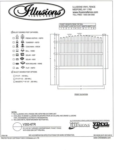Here's an Illusions Vinyl Fence Contemporary picket (7/8x3 inch) with crowned top and dog eared cap. Three rails are needed on 6 foot tall panels. All Illusions fence products are available in the Classic, Grand Illusions Color Spectrum ot the WoodBond wood grain finish.
