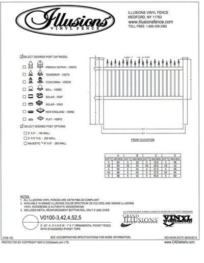 Illusions vinyl Ornamental picket fence with staggered top. Available in all Illusions fence colors and in heights of 3, 42 inch, 4, 52 inch and 5 foot.