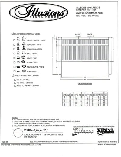 A reduced space vinyl ornamental picket closed top section. The 1 inch square pickets are spaced 1-5/8 inches apart. Just like every other Illusions Vinyl fence product, it is available in a wide array of colors.