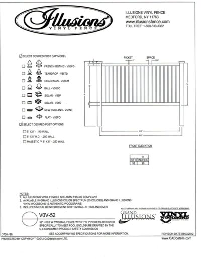 This 52 inch by 8 foot two rail vinyl picket fence section is designed by Illusions specifically to meet the USCPSC and BOCA pool codes.