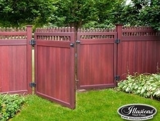 V3700 T&G privacy panel with straight top Classic Victorian picket in Grand Illusions Mahogany wood grain vinyl.