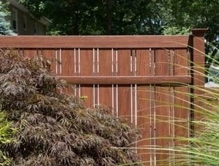 V500A Semi Privacy Panel in Rosewood Grand Illusions wood grain vinyl fence finish