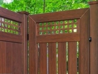 V5006 with square lattice top semi privacy gate in Rosewood wood grain by Grand Illusions.