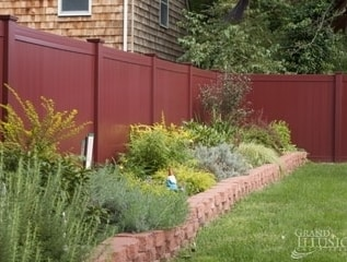 V300-6 Illusions T&G privacy panels in Cherry wood grain vinyl finish